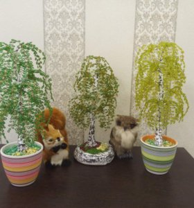 Цветы и деревья из бисера, ручная работа