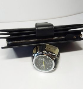 Комплект для мужчин - портмоне и часы