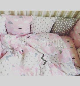 Бортики, простынь, одеяло, подушка
