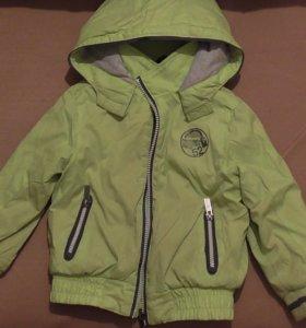 Куртка для девочки болоневая с флисом рост 104