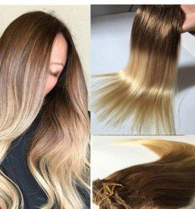 Волосы натуральные на заколках, новые