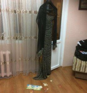 Вечернее платье в пол + шифоновый шарф