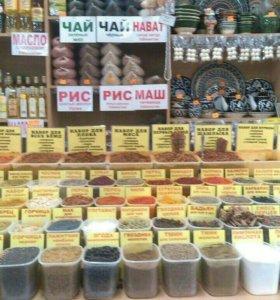 Специ. узбекский рис, нут, маш, масло, посуда.