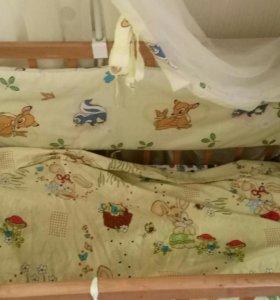 Детская кроватка-маятник+матрас,балдахин