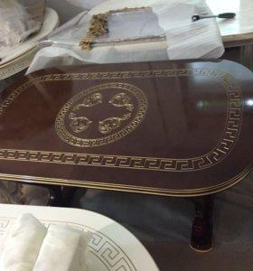 Стол 160 см раздвижной (200см) с золотой патиной