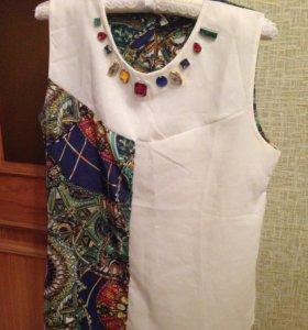 Блузка без рукавов со стразами