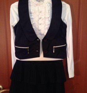 Костюм школьный юбка- жилет синий р.152-158