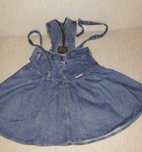 джинсовая юбка-сарафан