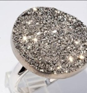 Кольцо и кулон с  Natural Agate Titanium Gray