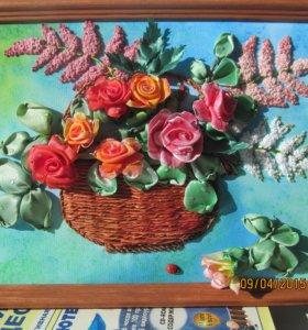 """Картина """"Розы"""" (вышита лентами)"""