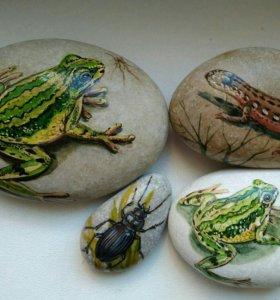 Морские камни с ручной росписью