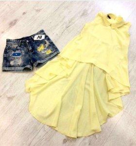 Блузка желтая со шлейфом и шорты джинсовые