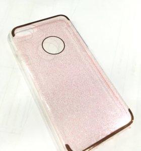 Чехол iPhone 7 розовый блестки