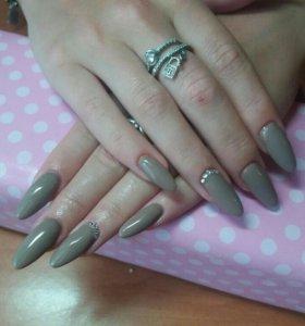 Наращивание ногтей, гель лак, маникюр)))