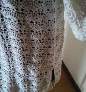Белая ажурная кофта на крупных женщин,ручная вязка