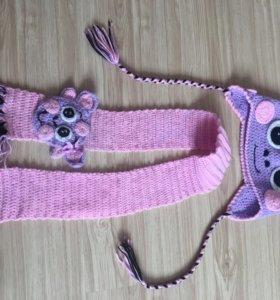 Вязаный комплект(шапка, шарфик) на девочку