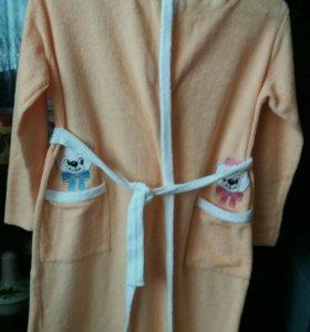 Махровый халат для девочки 122-128-60