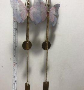 Серьги бабочки - нежные качество люкс
