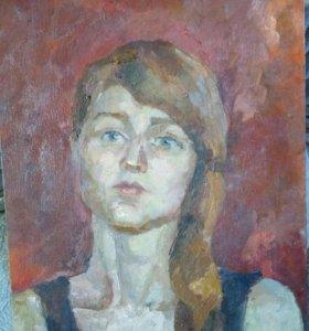 Живопись портрет. Девушка на красном ыоне