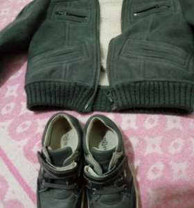 Дубленка весна-осень и ботинки.