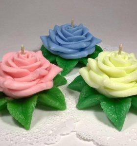 Свеча декоративная Роза в ассортименте