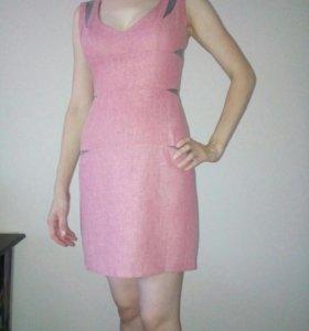 Льняное платье красное