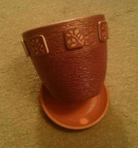 Горшок для цветов с поддоном керамический