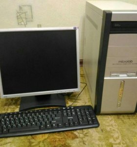 Компьютер. (Монитор, системник, клавиатура,мышка.)