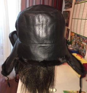 Шапка ушанка норковая комбинированная кожей