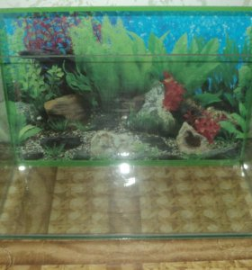 Аквариум 40л б\у, в нормальном состоянии и рыбки