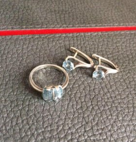 Кольцо серьги серебро