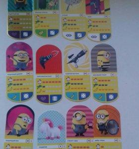 Карточки миньоны 12шт