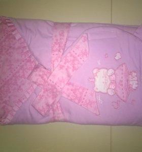 Конверт-одеяло на выписку для девочки