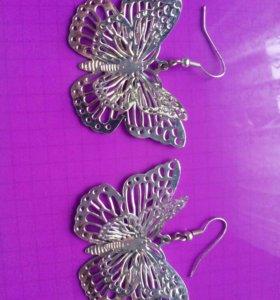 Серьги металические в форме бабочек