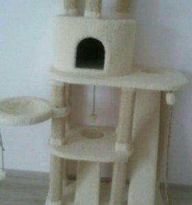 Комплекс для кошек с когтеточкой и домиком