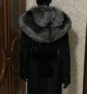 Норковая шуба шикарный мех с капюшоном чернобурка