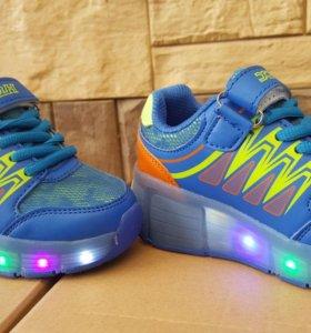 Светящиеся летние LED кроссовки с роликом