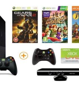 Продаю x box 360 + Kinect + 2 джойстика и 18 игр