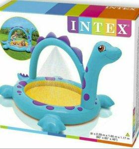 Детский бассейн с душем динозавр