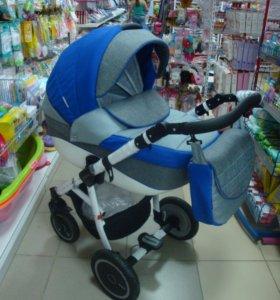 коляска 2в1 адамекс NEONEX т серый- синий