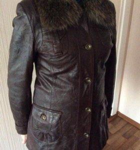 Натурная кожаная куртка с мехом
