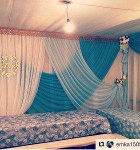 Оформление свадеб тканью, цветами, шарами