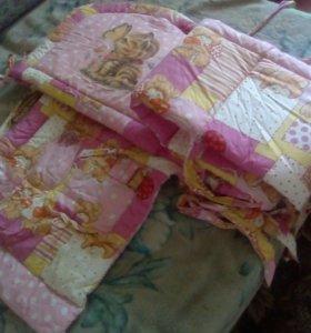 Бортики и балдахин в кроватку для девочки.