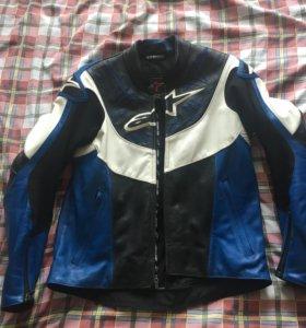 Alpinestars куртка кожаная Vector черно-синия 48