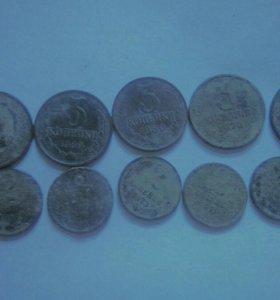 Монеты 1,2,3,5,10,15,20,50коп 1961-91г
