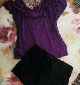 Блузка и юбка-шорты 42