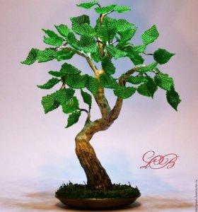 Дерево из бисера. Береза бонсай. Авторская работа