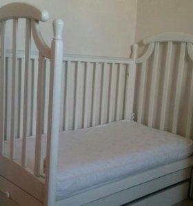 Кроватка Гандылян + матрац двухсезонный