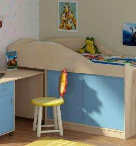Кровать чердак дюймовочка3 цвет голубой