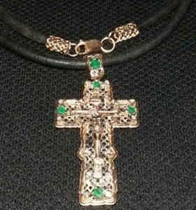 Золотой крест 31 гр, 22 бриллианта